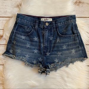 HOLLISTER DENIM SHORT SHORTS STAR PRINT 00